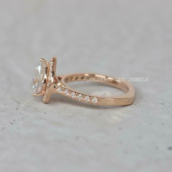 Buy Best Moissanite Halo Ring, 1.5 CT Colorless Pear Moissanite Rose Gold Halo Gift Ring