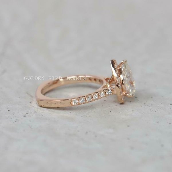 Moissanite Halo Ring, 1.5 CT Colorless Pear Moissanite Rose Gold Halo Gift Ring