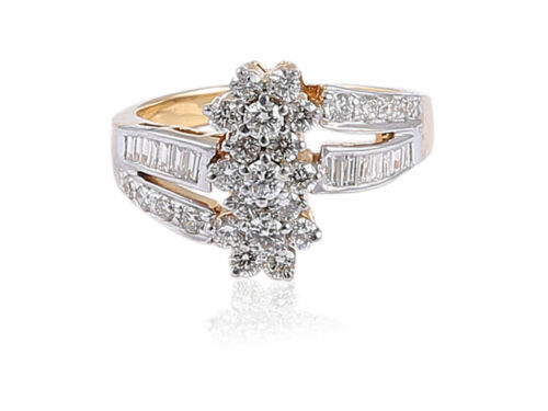 Pave 0.96 Cts Round Baguette Cut Diamonds Anniversary Ring In 585 Fine 14K Gold