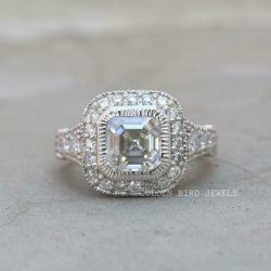 Vintage Halo Wedding Ring, White Gold Ring For Her, 2 CT Colorless Asscher Stone