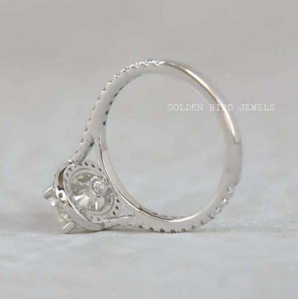 Buy Best White Gold Engagement Ring, 1.5 CT Colorless Oval Moissanite Halo Ring For Her