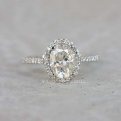 White Gold Engagement Ring, 1.5 CT Colorless Oval Moissanite Halo Ring For Her