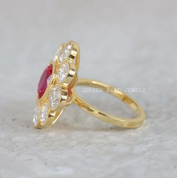 Yellow Gold Bezel Set Ring, 2.20 CT Red Oval Ruby Gemstone Ring, Filigree Ring