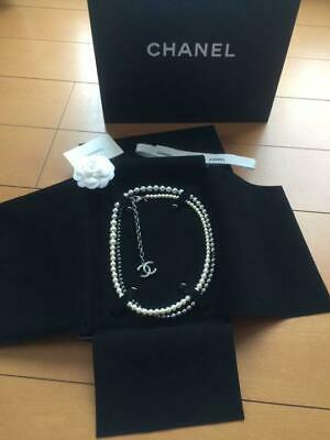 AUTH CHANEL PEARL NECKLACE R135 F/S