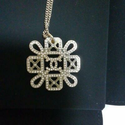 AUTH CHANEL PINK GOLD NECKLACE NEW, R106 F/S