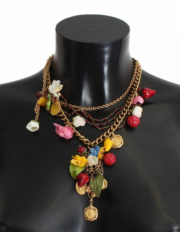 DOLCE & GABBANA Necklace Gold Coin Floral Fruit Charms SICILY Statement NEW