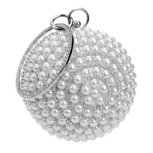 SEKUSA Circular Ball Diamond Tassel Women Party Dinner Clutches Evening Wedding Bag Bridal Shoulder Handbag Wristlets Clutch