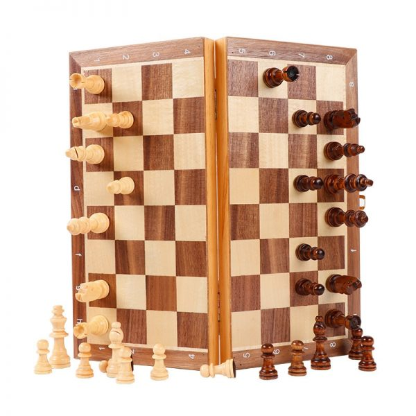 New High Quality Portable Wooden Folding Chess Set Solid Wood Chessboard Magnetic Pieces Entertainment Board Game Children Gifts