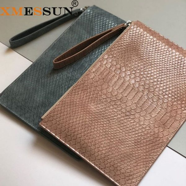 XMESSUN 2020 New Customized Letters Python Leather Clutch Handbag Women Laptop Bag For Macbook Pouch Bag With Wristlet