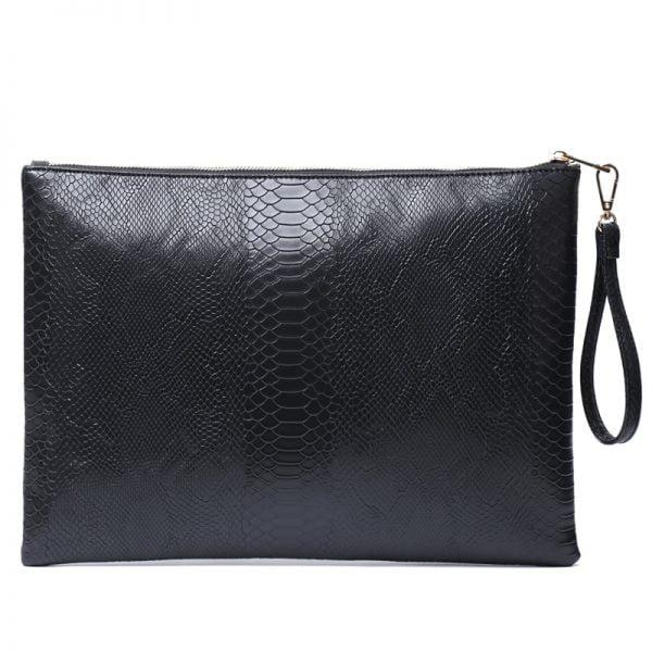 Fashion Large Gray Python Laptop Bag Zipper Clutch Pouch Bag Crocodile Ostrich Envelope Wristlet Purse Bag