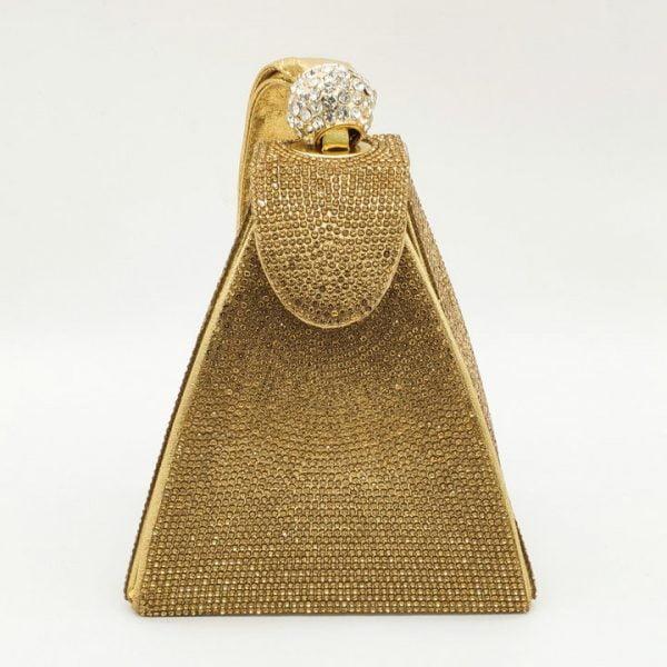 Boutique De FGG Dazzling Fashion Pyramid Crystal Clutch Evening Bags For Women 2020 Designer Evening Wedding Wristlets Handbags
