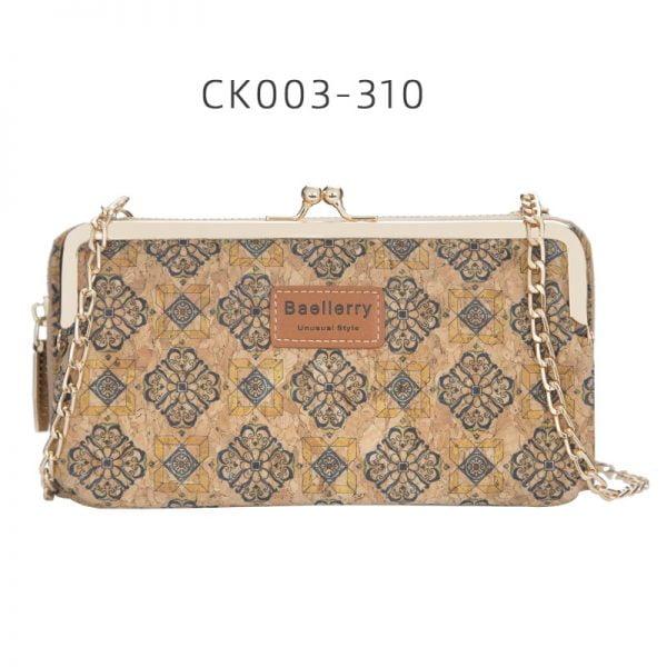 Baellerry Women's Wallet New Lady Phone Bag Zipper Handbag Purse Long Wristlet Wallets Clutch Messenger Wood Shoulder Straps Bag