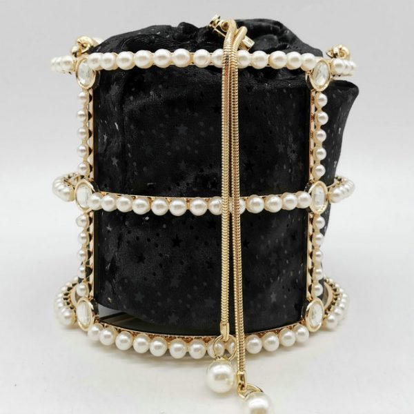 Hollow Out Pearl Bucket Evening Bag Women Luxury Designer Handmade Alloy Metallic Clutch Bag Ladies Shoulder Bag