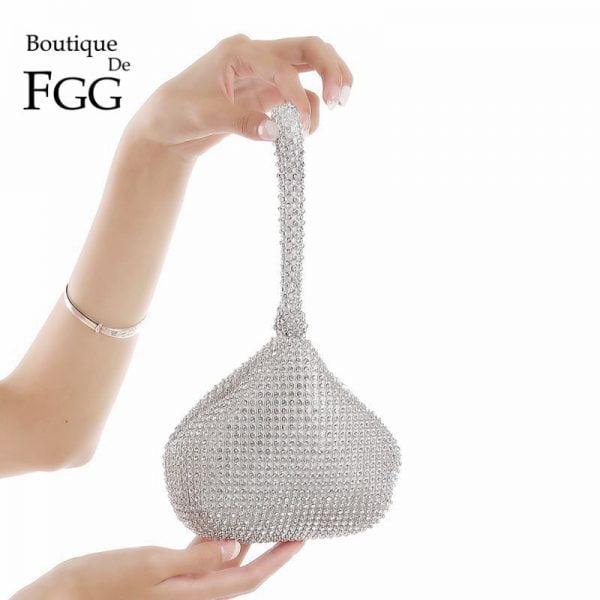 Sparkling Silver Diamond Women Mini Evening Clutch Wristlets Bag Bridal Wedding Party Crystal Handbag and Purse