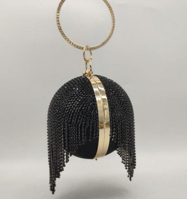 Elegant Tassels Women Round Bag Ball Purses Crysal Evening Clutch Bags Wedding Party Diamond Wristlets Handbags
