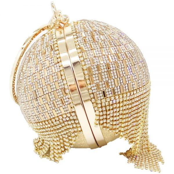 Golden Diamond Tassel Women Metal Crystal Clutches Evening Bags Wedding Bag Bridal Shoulder Handbag Wristlets Clutch Purse