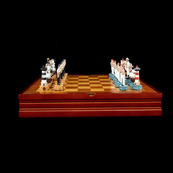 Chess Set Free Shipping Creative Design Theme of The Mermaid Chess Sets Sea-Maid Resin Chess Pieces Wooden Board Game