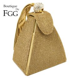 Boutique De FGG Dazzling Fashion Pyramid Crystal Clutch Evening Bags For Women 2020 Designer Evening Wedding Wristlets Handbags