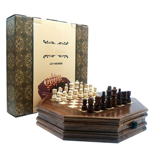 Boutique Chess Set Handwork Solid Wood Coffee Table Walnut Drawer Style Storage Pieces Professional Chess Child Gift Board Games