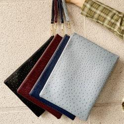 Women Large Leather Clutch Pouch Crocodile Ostrich Envelope Wristlet Bag Fashion Python Laptop Bag For Macbook Pouch Bag