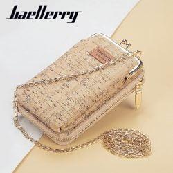 Baellerry Women's Wallet Women New Handbag Purse Lady Phone Bag Long Wristlet Wallets Clutch Messenger Wood Shoulder Straps Bag