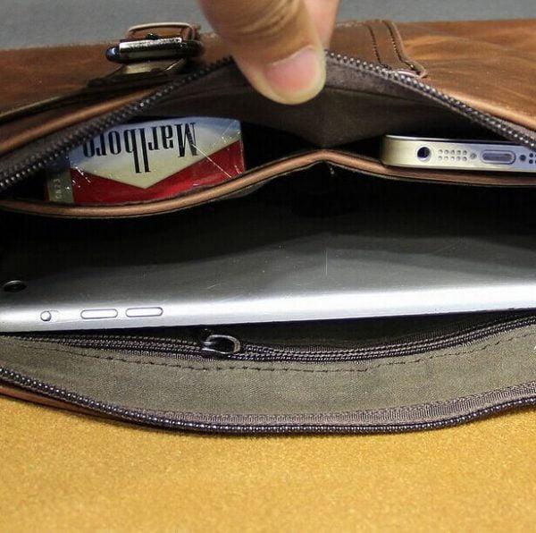 New Vintage Leather Envelope Bags Large Capacity Zipper Mens Clutches Wristlet Purse Handbag Elegant Evening Bag Mobile Pouch