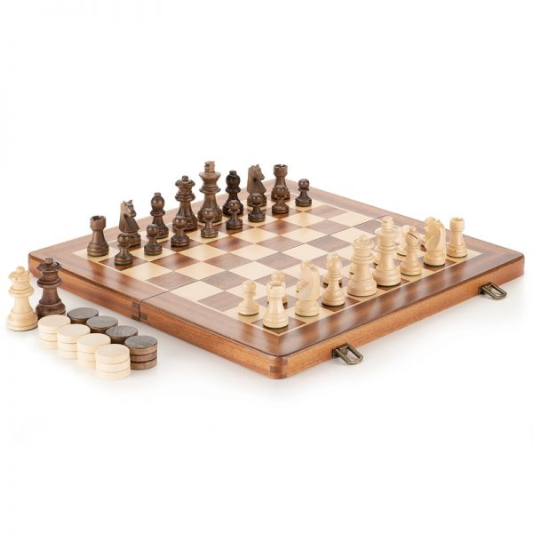 Hot Top Grade Refined Folding Wooden Chess & Checkers Set Solid Wood Sapele Chessboard Children's Entertainment Gifts Board Game