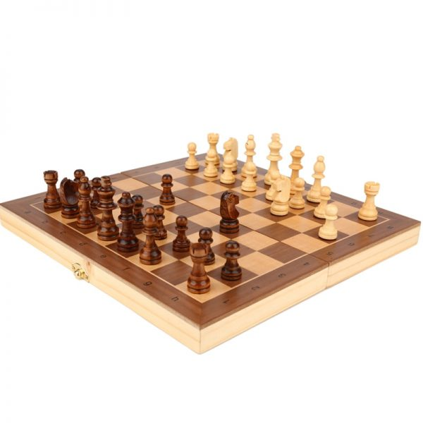 Hot Portable Wooden Folding Chess Set 29/34/39cm Solid Wood Chessboard Magnetic Chessman Children Gift Entertainment Board Games