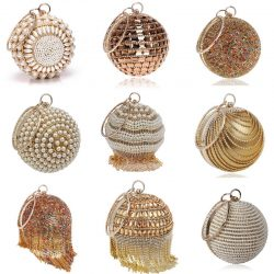 Ball Diamond Tassel Women Party Metal Crystal Clutches Evening Wedding Bag Bridal Shoulder Handbag Wristlets Clutch