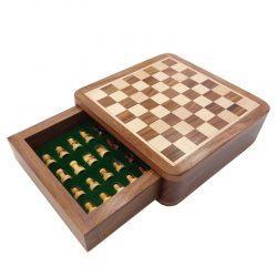 Top Grade Solid Wood Portable Non-slip Magnetic Super Mini Chess Set Drawer Pieces Box Children Gifts Crafts Board Game qenueson