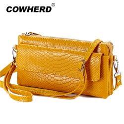 2021 Hot Women Clutch Bag Serpentine Prints Genuine Cow Leather Wallets Fashion Wristlet Change Phone Purse Handbag 712