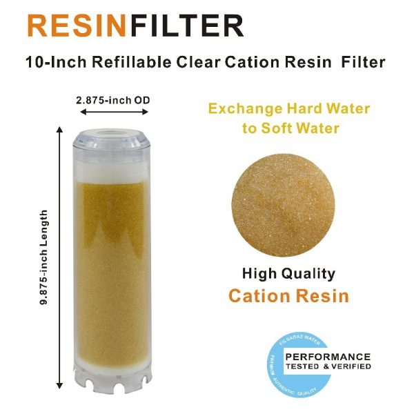 """Softening Water Filter 10"""" L x 2-3/4"""" OD Clear Resin Water Filter Cartridge"""