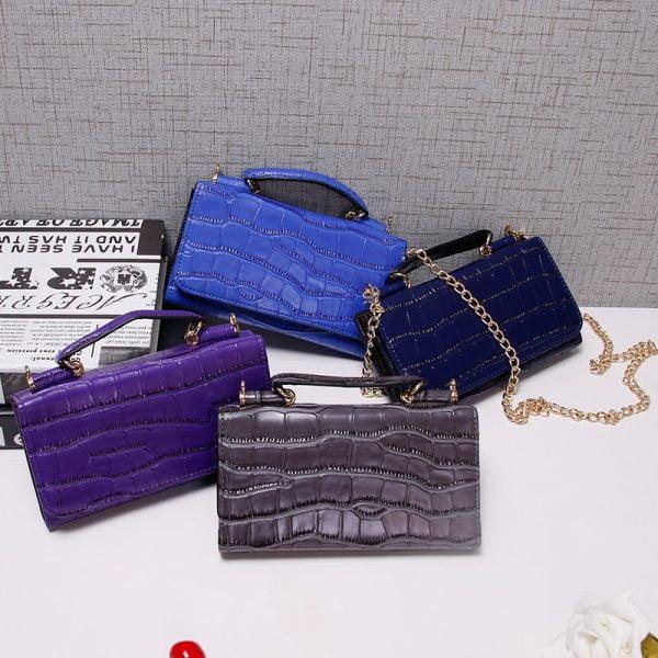 Women Cowhide Leather Clutch Bags Green Crocodile Pattern Handbags Women Shoulder Crossbody Bag Bolsas Wristlet Party Wallets