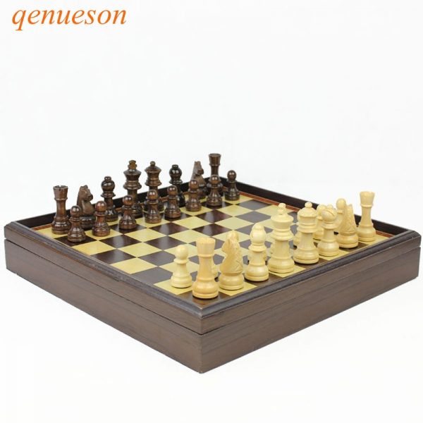 New Hot High Quality Board Games Wooden Chess Set Box Wooden Table Natural Green Paint Desktop 310*310*53mm qenueson