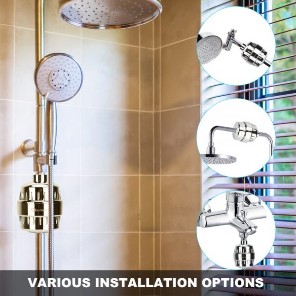 Wheelton Bath Shower Filter(H-303-1E) Softener Chlorine&Heavy Metal Removal Water Filter Purifier For Health Bathing