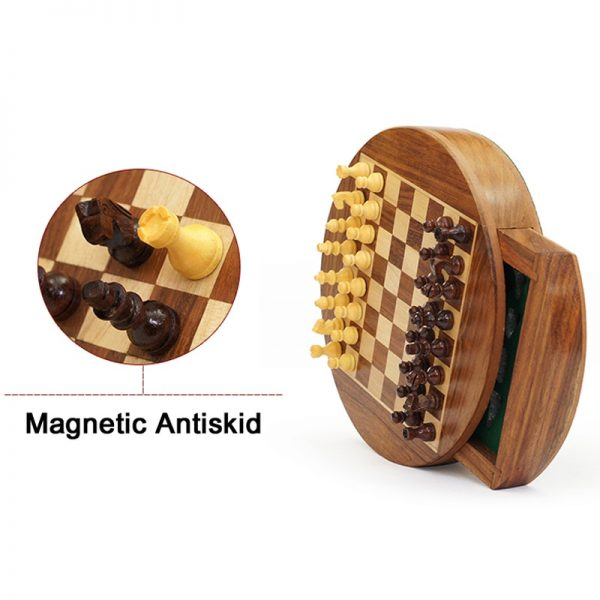 Mini Upscale Circle Solid Wood Magnetic Drawer Chess Portable Non-slip Pieces Box Exquisite Puzzle Convenient Storage Board Game