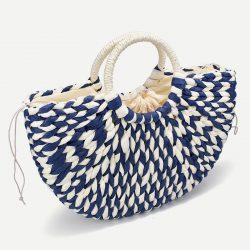 2021 New Women round bucket semicircle straw bag handmade net color woven basket rattan handbag