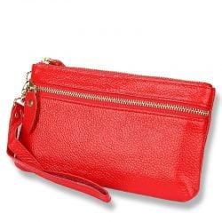 Genuine Leather New Fashion Women Coin Purse Long Clutch Bags Wallets Wristlet Zipper Change Cowhide Handbag Candy Color