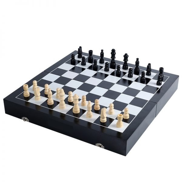 Hot Hight Quality Solid Wooden Folding Large Chess&Checkers Set Black Chessboard Entertainment Board Game Children Gift qenueson