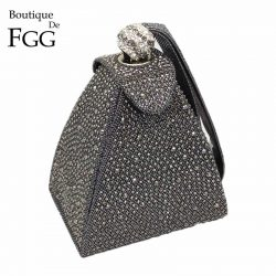 Vintage Diamond Bridal Wedding Purse Mini Gray Pyramid Party Handbags Women Bag Wristlets Clutches Crystal Evening Clutch Bags