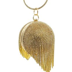 Boutique De FGG Rhinestones Tassels Women Crystal Clutch Gold Round Ball Bag Party Cocktail Dinner Wristlets Purses and Handbags