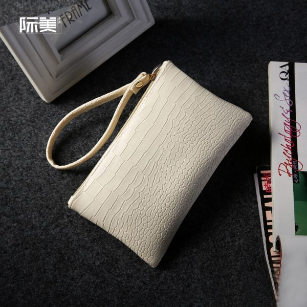2021 New Summer Clutch Wristlets PU Leather Women Coin Purse Shopping Handbags Ladies Envelope Cell Phone Hand Bag Pink White