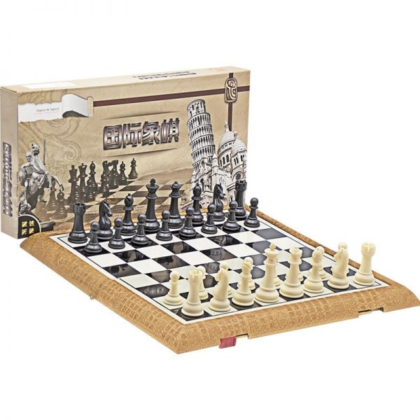 High Quality Portable Travel Chess Set Plastic Chess Game Magnetic Chess Pieces Folding Chessboard As Child Gift Toy Board Games