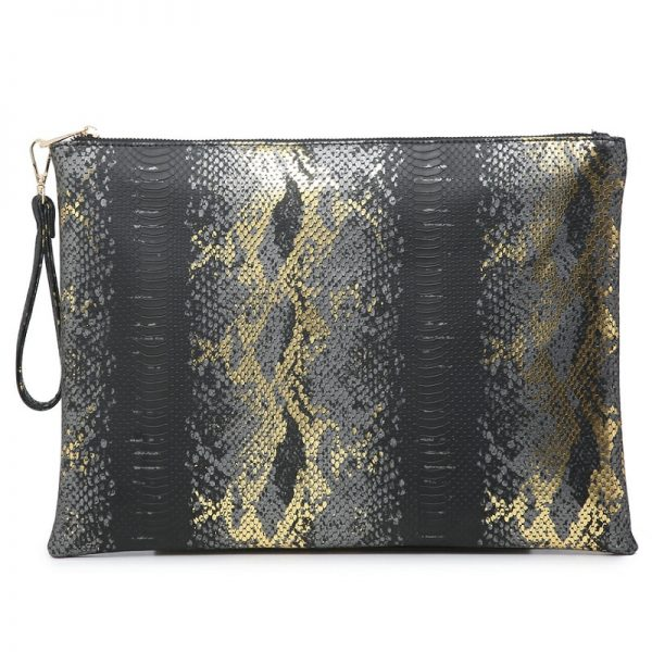 Ostrich Maroon Leather Clutch Handbag Python Women Laptop Bag For Macbook Pouch Bag With Short Wristlet