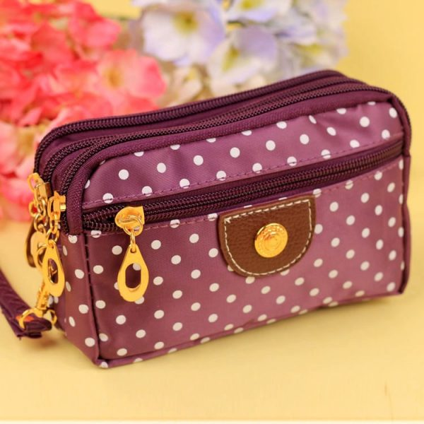 Fashion Women Wallets Small Handbags Canvas Dot Lady Zipper Moneybags Clutch Coin Purse Pocket Wallet Cards Holder Wristlet Bags