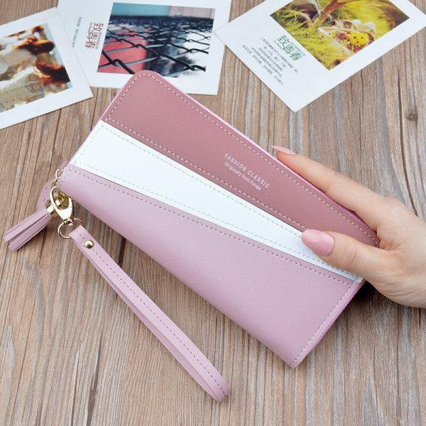 Fashion Brand Long Wallets Women Leather Women Wallets Wristlet Handbags Long Money Bag Zipper Coin Purse Cards ID