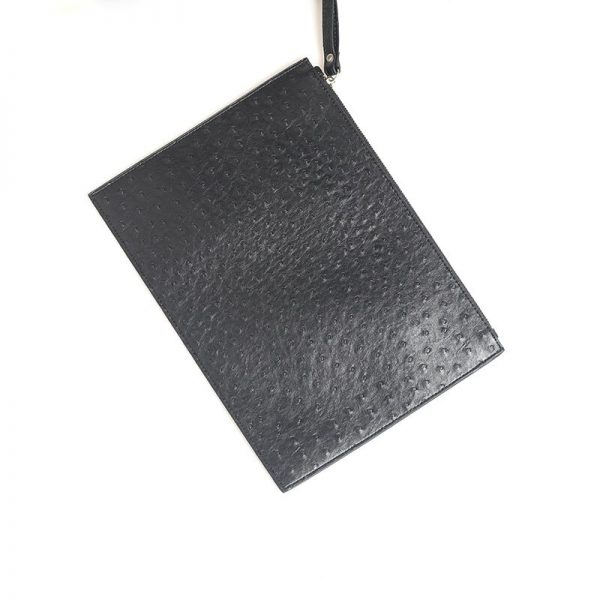 XMESSUN 2021 New Customized Letters Ostrich Leather Clutch Handbag Women Laptop Bag For Macbook Pouch Bag With Wristlet