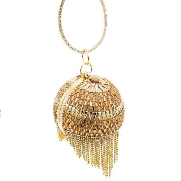 Boutique De FGG Vintage Diamond Tassels Round Ball Women Beaded Evening Purse and Handbag Wedding Bridal Crystal Clutch Bag