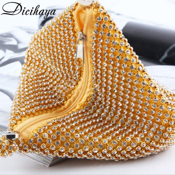 DICIHAYA Soft Beaded Women Evening Bags ZIPPER SMALL Lady Wedding Bridalmaid Handbags Purse Bag Gift Diamonds Clutch Bags