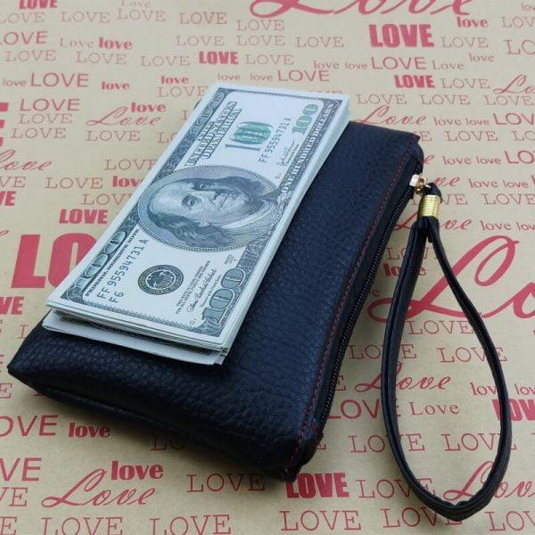 2021 New Fashion Solid Slim Men Women Key Wallet PU Leather Hand Bag Zipper Clutch Coin Purse Phone Holder Mini Wristlet Handbag